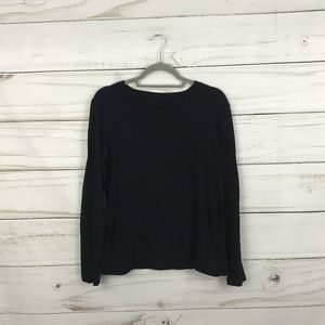 Madewell Black Long Sleeve Picket Crew Neck Top